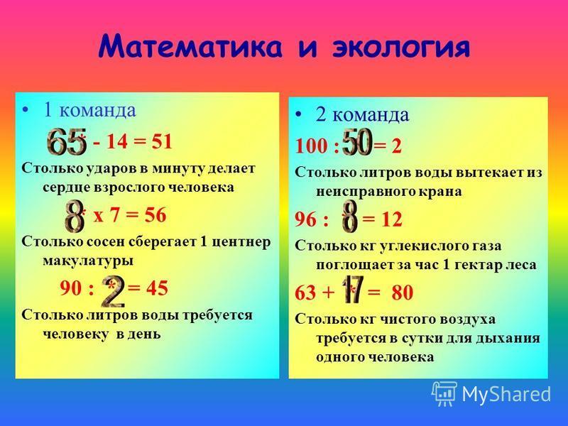Математика и экология 1 команда * - 14 = 51 Столько ударов в минуту делает сердце взрослого человека * х 7 = 56 Столько сосен сберегает 1 центнер макулатуры 90 : * = 45 Столько литров воды требуется человеку в день 2 команда 100 : * = 2 Столько литро