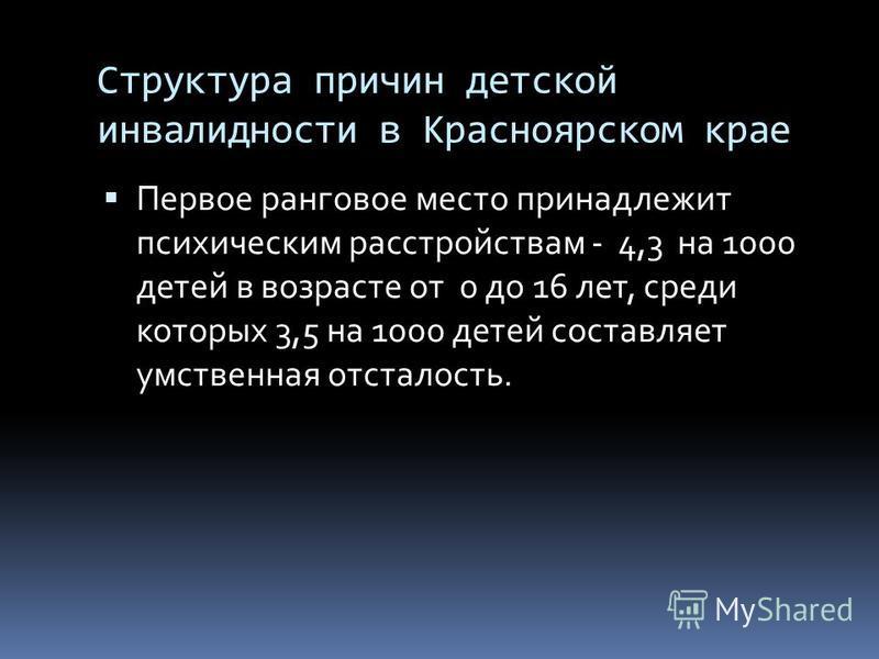 Структура причин детской инвалидности в Красноярском крае Первое ранговое место принадлежит психическим расстройствам - 4,3 на 1000 детей в возрасте от 0 до 16 лет, среди которых 3,5 на 1000 детей составляет умственная отсталость.