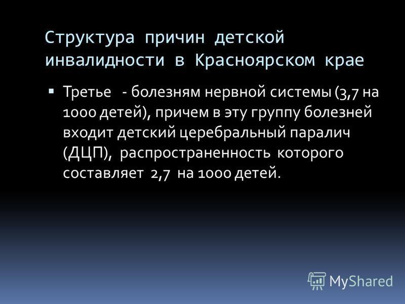 Структура причин детской инвалидности в Красноярском крае Третье - болезням нервной системы (3,7 на 1000 детей), причем в эту группу болезней входит детский церебральный паралич (ДЦП), распространенность которого составляет 2,7 на 1000 детей.