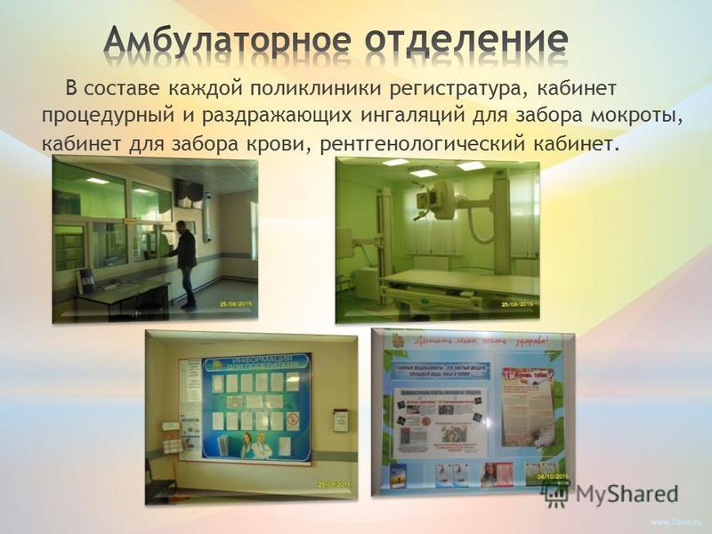 В составе каждой поликлиники регистратура, кабинет процедурный и раздражающих ингаляций для забора мокроты, кабинет для забора крови, рентгенологический кабинет.