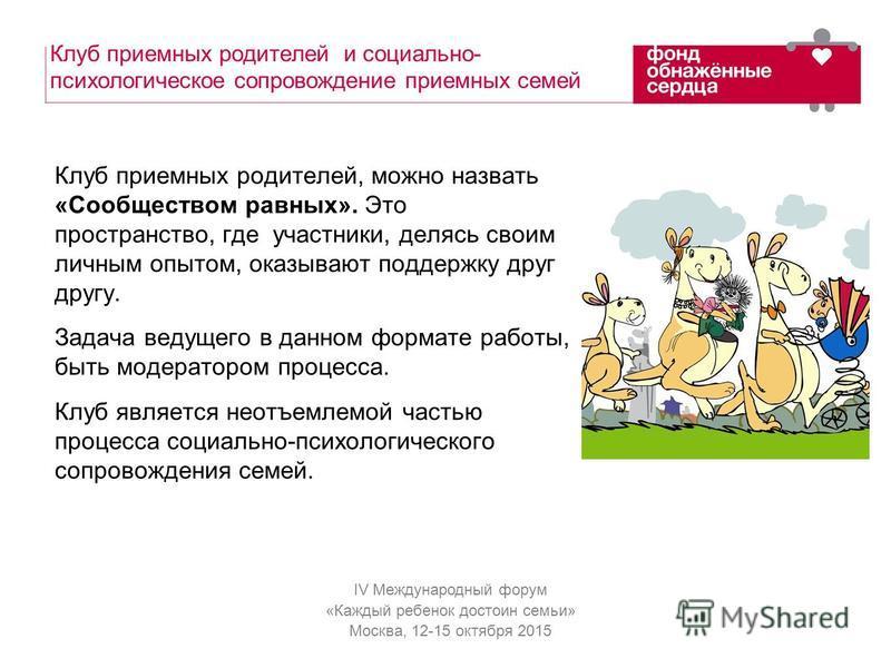 IV Международный форум «Каждый ребенок достоин семьи» Москва, 12-15 октября 2015 Клуб приемных родителей и социально- психологическое сопровождение приемных семей Клуб приемных родителей, можно назвать «Сообществом равных». Это пространство, где учас