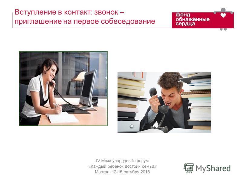 IV Международный форум «Каждый ребенок достоин семьи» Москва, 12-15 октября 2015 Вступление в контакт: звонок – приглашение на первое собеседование