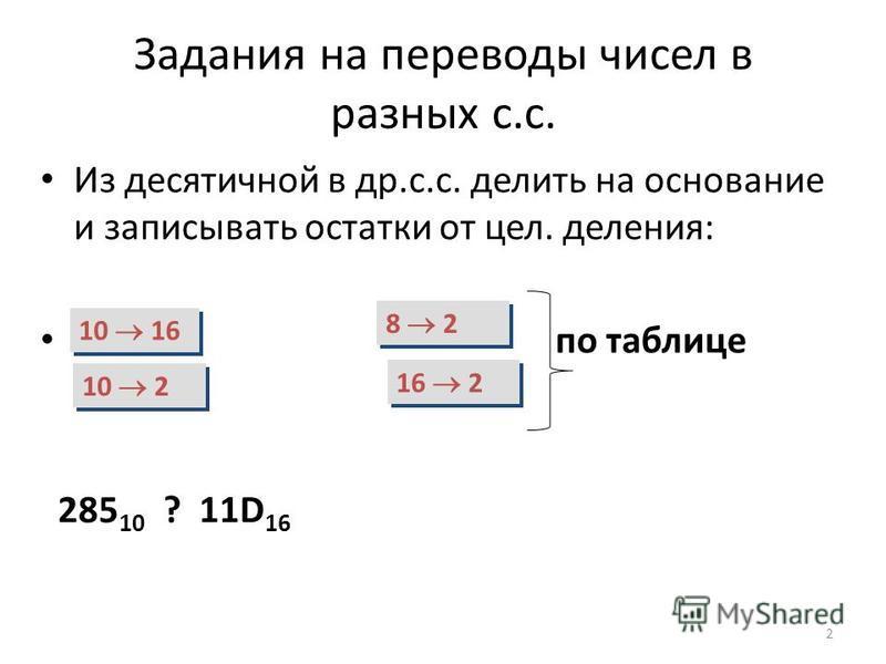 Задания на переводы чисел в разных с.с. Из десятичной в др.с.с. делить на основание и записывать остатки от цел. деления: по таблице 285 10 ? 11D 16 2 10 16 10 2 8 2 16 2