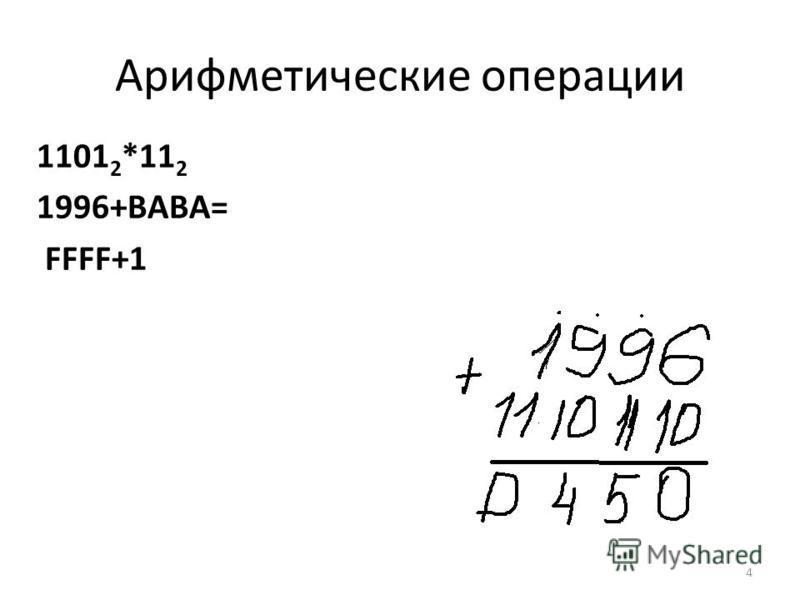 Арифметические операции 1101 2 *11 2 1996+BABA= FFFF+1 4