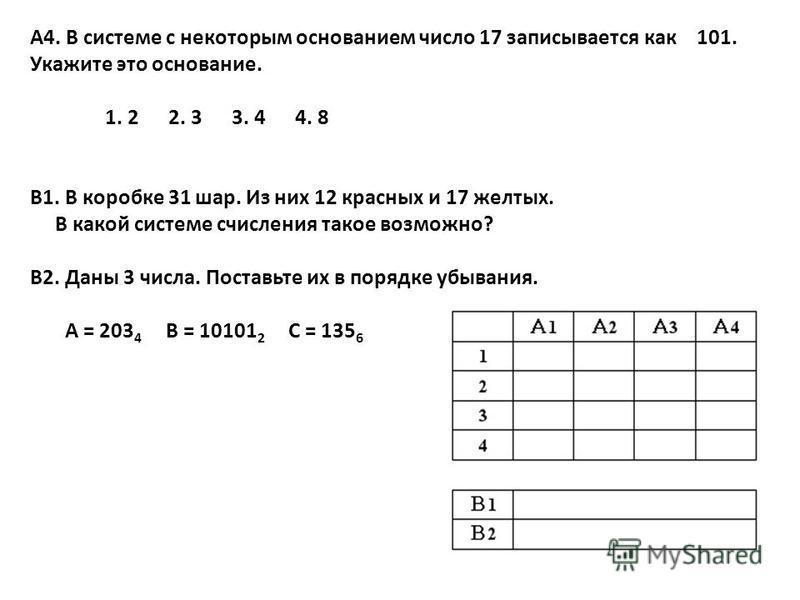 5 А4. В системе с некоторым основанием число 17 записывается как 101. Укажите это основание. 1. 2 2. 3 3. 4 4. 8 В1. В коробке 31 шар. Из них 12 красных и 17 желтых. В какой системе счисления такое возможно? В2. Даны 3 числа. Поставьте их в порядке у
