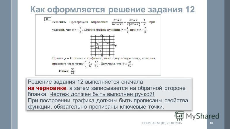 Как оформляется решение задания 12 Решение задания 12 выполняется сначала на черновике, а затем записывается на обратной стороне бланка. Чертеж должен быть выполнен ручкой! При построении графика должны быть прописаны свойства функции, обязательно пр