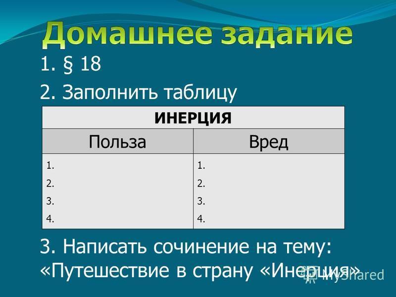 1. § 18 2. Заполнить таблицу 3. Написать сочинение на тему: «Путешествие в страну «Инерция» ИНЕРЦИЯ Польза Вред 1. 2. 3. 4. 1. 2. 3. 4.