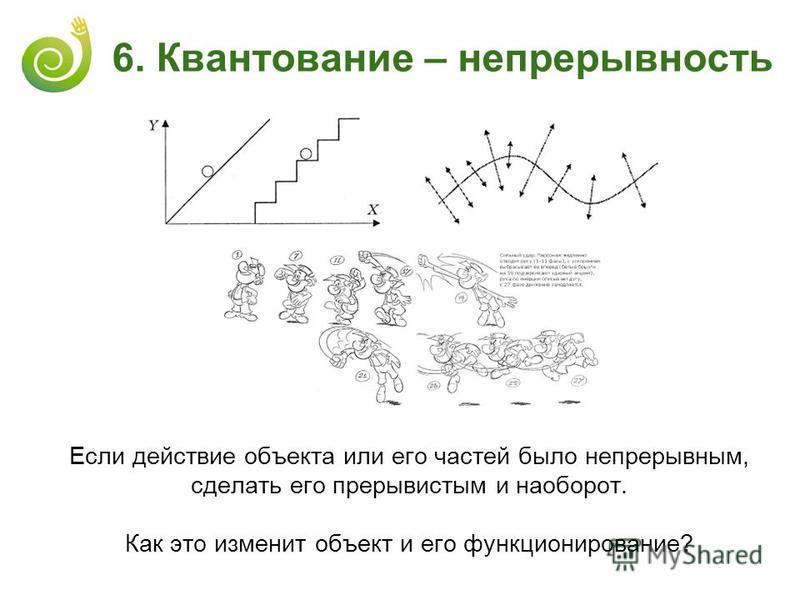 6. Квантование – непрерывность Если действие объекта или его частей было непрерывным, сделать его прерывистым и наоборот. Как это изменит объект и его функционирование?