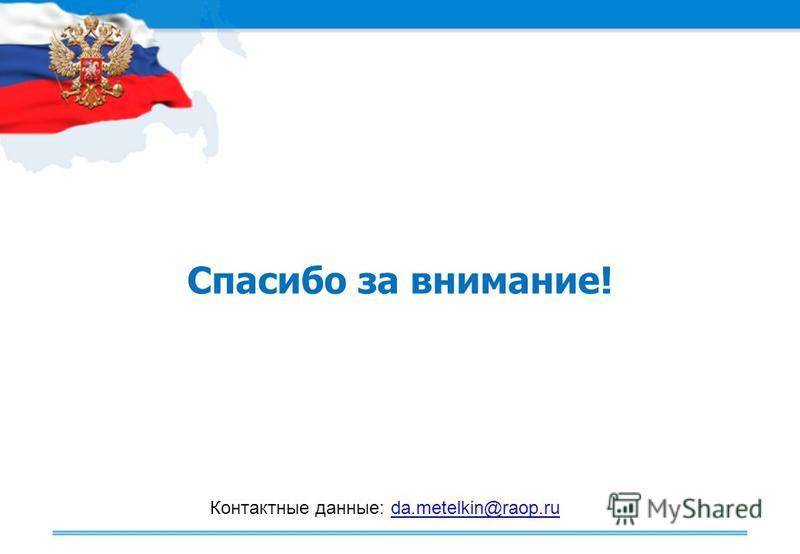 Спасибо за внимание! Контактные данные: da.metelkin@raop.ruda.metelkin@raop.ru