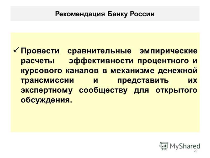 Рекомендация Банку России Провести сравнительные эмпирические расчеты эффективности процентного и курсового каналов в механизме денежной трансмиссии и представить их экспертному сообществу для открытого обсуждения. 29