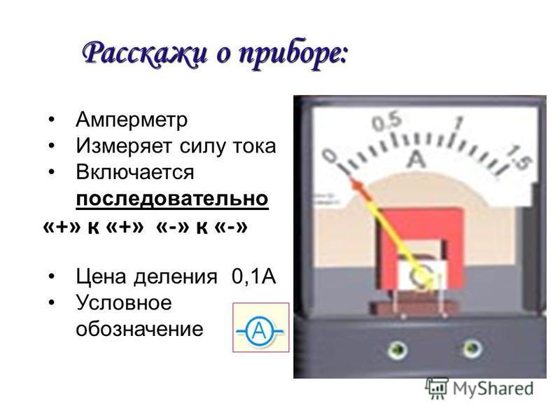 Расскажи о приборе: Амперметр Измеряет силу тока Включается последовательно Цена деления 0,1А Условное обозначение «+» к «+» «-» к «-»