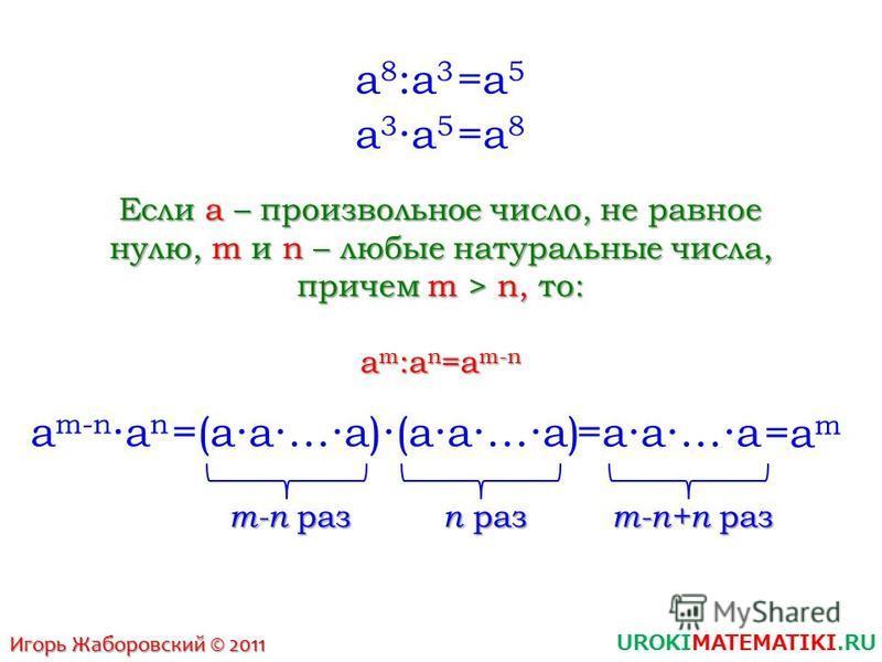 UROKIMATEMATIKI.RU Игорь Жаборовский © 2011 a8:a3a8:a3 a 3a 5 =a8=a8 =a5=a5 Если a – произвольное число, не равное нулю, m и n – любые натуральные числа, причем m > n, то: am:an=am-nam:an=am-nam:an=am-nam:an=am-n a m-na n =(aa…a)(aa…a) =aa…a =am=am m