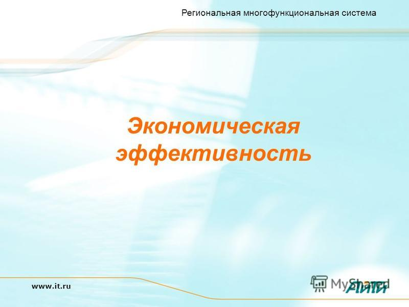 Региональная многофункциональная система www.it.ru Экономическая эффективность