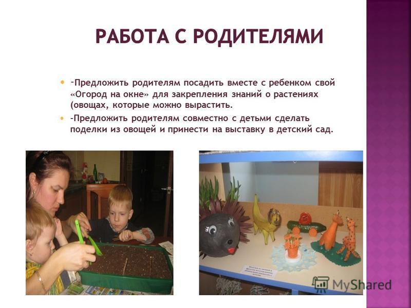 - Предложить родителям посадить вместе с ребенком свой «Огород на окне» для закрепления знаний о растениях (овощах, которые можно вырастить. -Предложить родителям совместно с детьми сделать поделки из овощей и принести на выставку в детский сад.