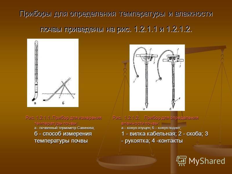 Приборы для определения температуры и влажности почвы приведены на рис. 1.2.1.1 и 1.2.1.2. Рис. 1.2.1.1. Прибор для измерения температуры почвы: а - почвенный термометр Савинова; б - способ измерения температуры почвы Рис. 1.2.1.2. Прибор для определ