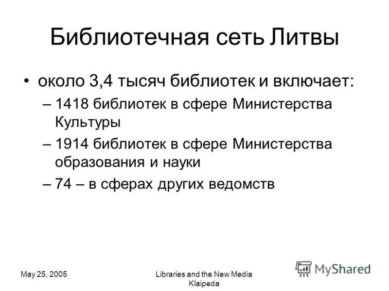 May 25, 2005Libraries and the New Media Klaipeda Библиотечная сеть Литвы около 3,4 тысяч библиотек и включает: –1418 библиотек в сфере Министерства Культуры –1914 библиотек в сфере Министерства образования и науки –74 – в сферах других ведомств