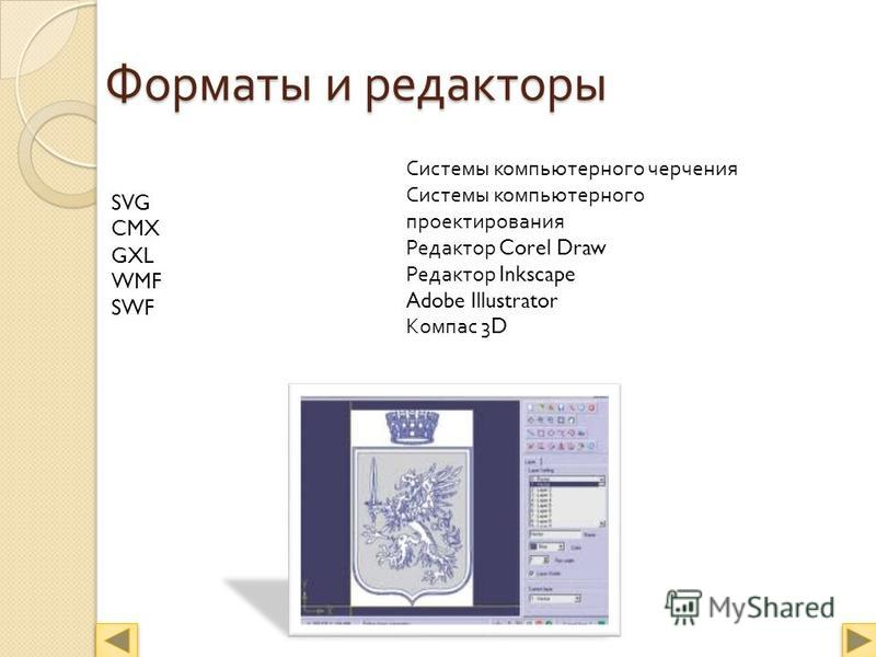 Форматы и редакторы Системы компьютерного черчения Системы компьютерного проектирования Редактор Corel Draw Редактор Inkscape Adobe Illustrator Компас 3D SVG CMX GXL WMF SWF