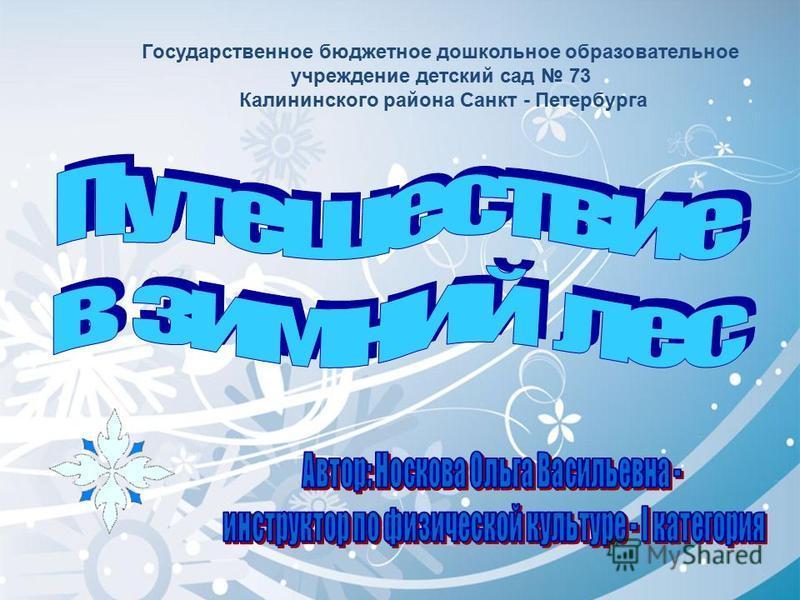 Государственное бюджетное дошкольное образовательное учреждение детский сад 73 Калининского района Санкт - Петербурга