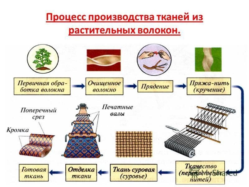 Процесс производства тканей из растительных волокон.
