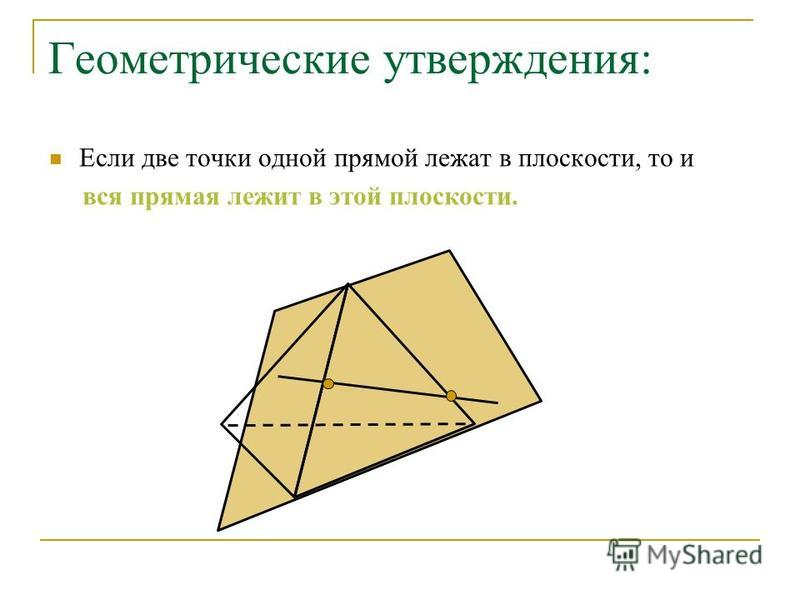 Геометрические утверждения: Если две точки одной прямой лежат в плоскости, то и вся прямая лежит в этой плоскости.