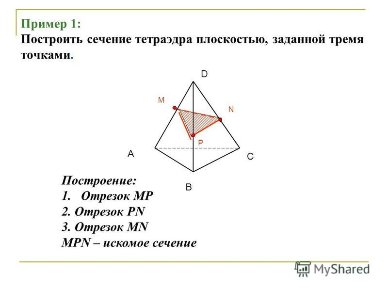 Пример 1: Построить сечение тетраэдра плоскостью, заданной тремя точками. А В С D P M N Построение: 1. Отрезок MP 2. Отрезок PN 3. Отрезок MN MPN – искомое сечение