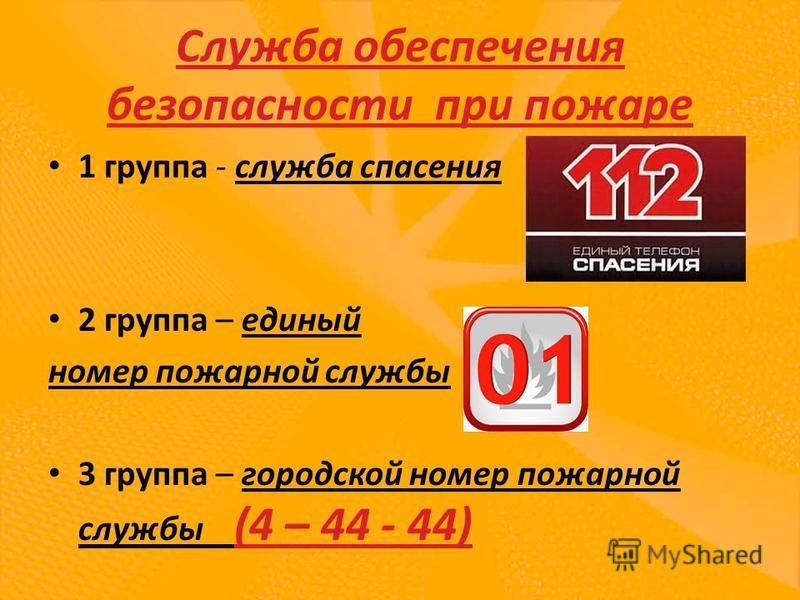 Служба обеспечения безопасности при пожаре 1 группа - служба спасения 2 группа – единый номер пожарной службы 3 группа – городской номер пожарной службы (4 – 44 - 44)