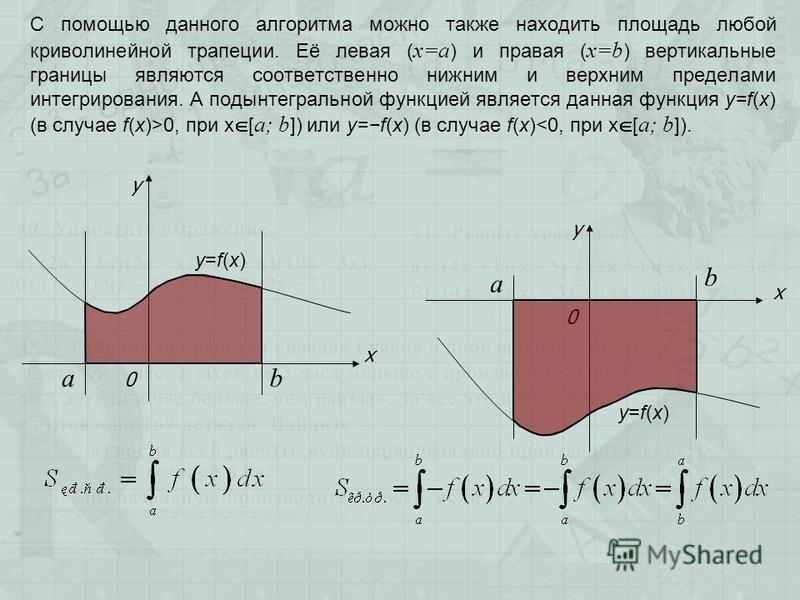 С помощью данного алгоритма можно также находить площадь любой криволинейной трапеции. Её левая ( х=а ) и правая ( х=b ) вертикальные границы являются соответственно нижним и верхним пределами интегрирования. А подынтегральной функцией является данна