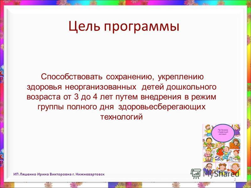ИП Ляшенко Ирина Викторовна г. Нижневартовск 2 Цель программы Способствовать сохранению, укреплению здоровья неорганизованных детей дошкольного возраста от 3 до 4 лет путем внедрения в режим группы полного дня здоровьесберегающих технологий Программа
