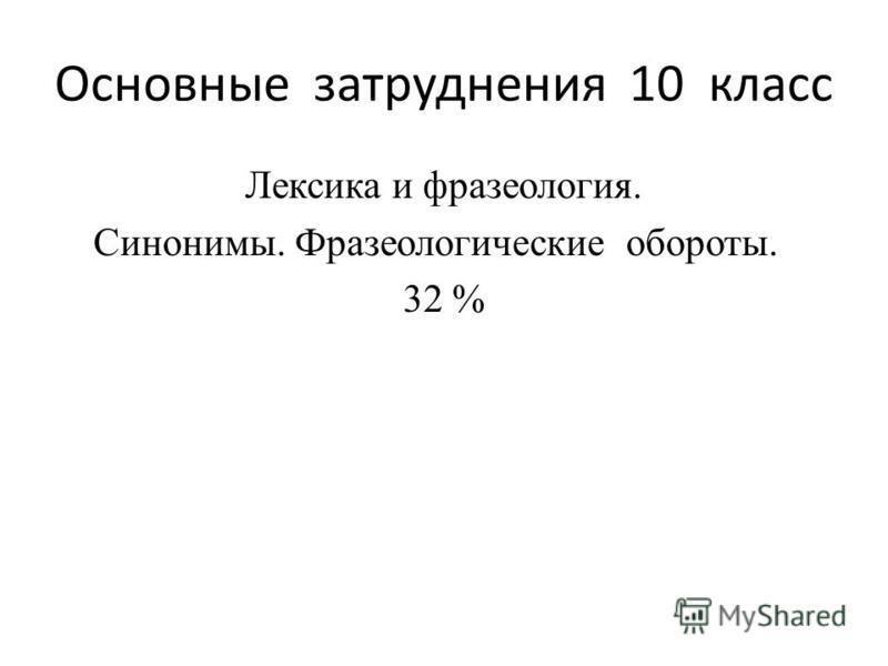 Основные затруднения 10 класс Лексика и фразеология. Синонимы. Фразеологические обороты. 32 %