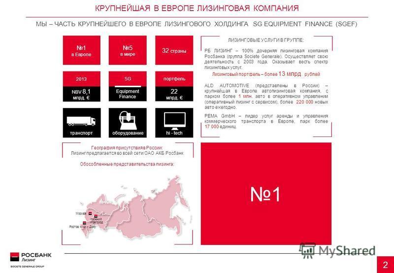 КРУПНЕЙШАЯ В ЕВРОПЕ ЛИЗИНГОВАЯ КОМПАНИЯ МЫ – ЧАСТЬ КРУПНЕЙШЕГО В ЕВРОПЕ ЛИЗИНГОВОГО ХОЛДИНГА SG EQUIPMENT FINANCE (SGEF) 2 портфель 22 млрд. SG Equipment Finance 2013 NBV 8,1 млрд. 1 в Европе 5 в мире 32 страны транспортоборудованиеhi - tech ЛИЗИНГОВ