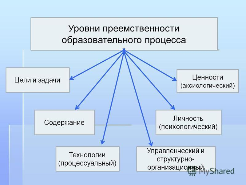 Уровни преемственности образовательного процесса Цели и задачи Содержание Личность (психологический) Управленческий и структурно- организационный Технологии (процессуальный) Ценности (аксиологический)
