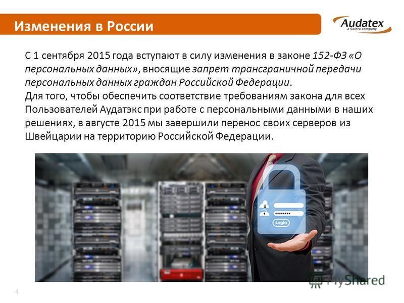 Изменения в России С 1 сентября 2015 года вступают в силу изменения в законе 152-ФЗ «О персональных данных», вносящие запрет трансграничной передачи персональных данных граждан Российской Федерации. Для того, чтобы обеспечить соответствие требованиям