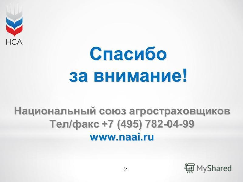 31 Спасибо за внимание! Национальный союз агростраховщиков Тел/факс +7 (495) 782-04-99 www.naai.ru Национальный союз агростраховщиков Тел/факс +7 (495) 782-04-99 www.naai.ru