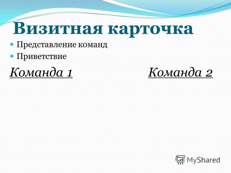 Визитная карточка Представление команд Приветствие Команда 1Команда 2