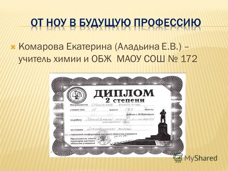 Комарова Екатерина (Аладьина Е.В.) – учитель химии и ОБЖ МАОУ СОШ 172