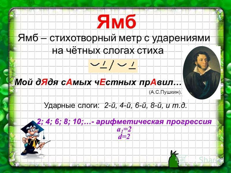 Ямб Ямб – стихотворный метр с ударениями на чётных слогах стиха Мой д Ядя с Амых ч Естных пр Авил… (А.С.Пушкин). Ударные слоги: 2-й, 4-й, 6-й, 8-й, и т.д. 2; 4; 6; 8; 10;…- арифметическая прогрессия a 1 =2 d=2