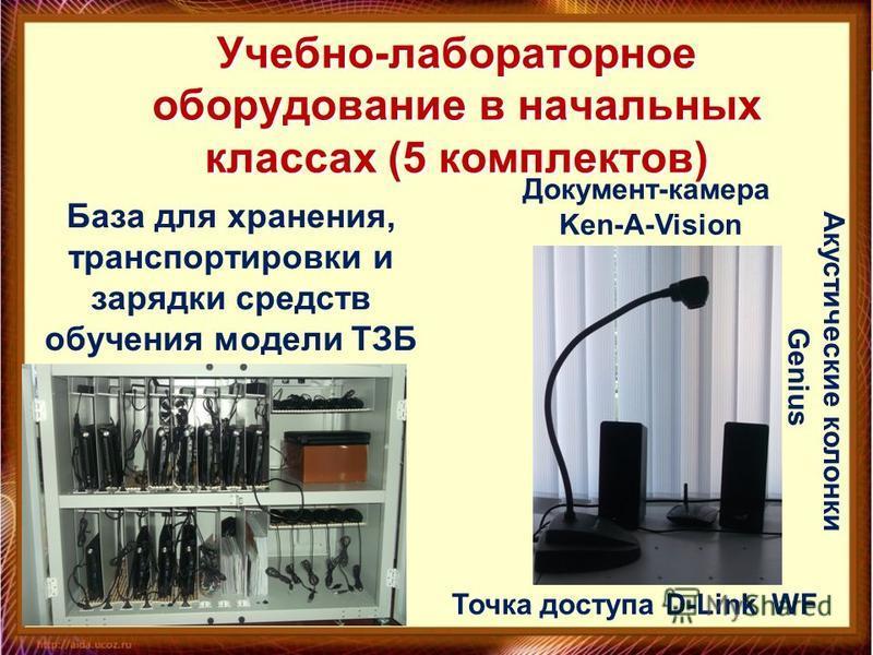 Учебно-лабораторное оборудование в начальных классах (5 комплектов) Акустические колонки Genius Точка доступа D-Link WF Документ-камера Ken-A-Vision База для хранения, транспортировки и зарядки средств обучения модели ТЗБ