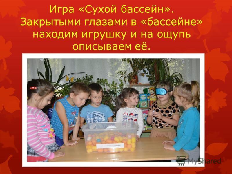 Игра «Сухой бассейн». Закрытыми глазами в «бассейне» находим игрушку и на ощупь описываем её.