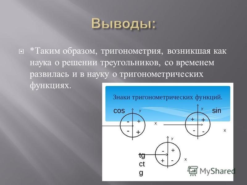 * Таким образом, тригонометрия, возникшая как наука о решении треугольников, со временем развилась и в науку о тригонометрических функциях.