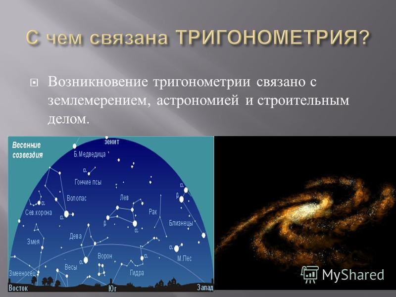 Возникновение тригонометрии связано с землемерением, астрономией и строительным делом.