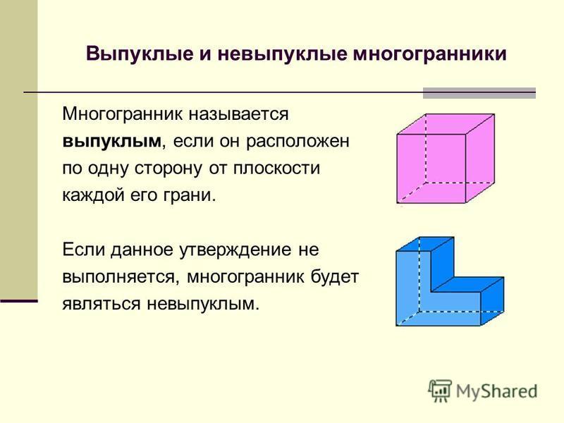 Виды многогранников: 1. Выпуклые и невыпуклые многогранники. 2. Правильные(Платоновы тела) и неправильные многогранники. 3. Полуправильные многогранники. 4. Звездчатые многогранники.