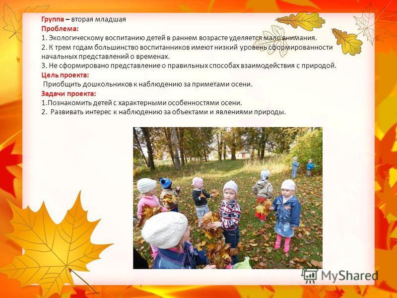 Группа – вторая младшая Проблема: 1. Экологическому воспитанию детей в раннем возрасте уделяется мало внимания. 2. К трем годам большинство воспитанников имеют низкий уровень сформированности начальных представлений о временах. 3. Не сформировано пре