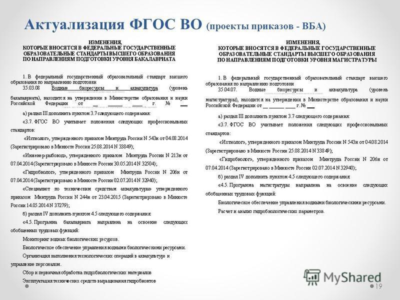Актуализация ФГОС ВО (проекты приказов - ВБА) 19