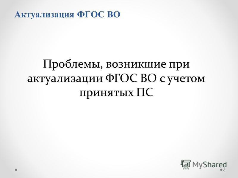 Актуализация ФГОС ВО 6 Проблемы, возникшие при актуализации ФГОС ВО с учетом принятых ПС