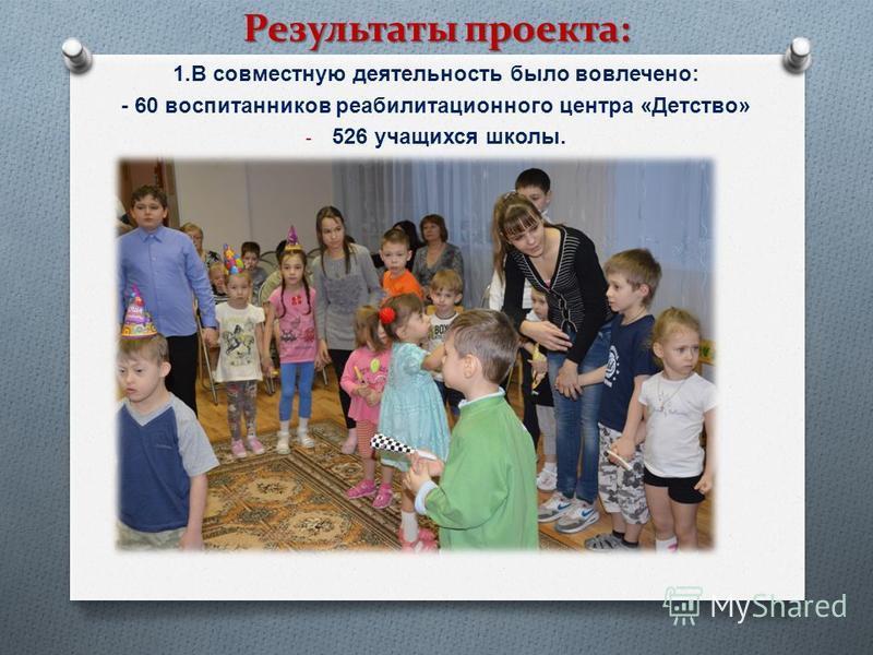 1. В совместную деятельность было вовлечено : - 60 воспитанников реабилитационного центра « Детство » - 526 учащихся школы. Результаты проекта: