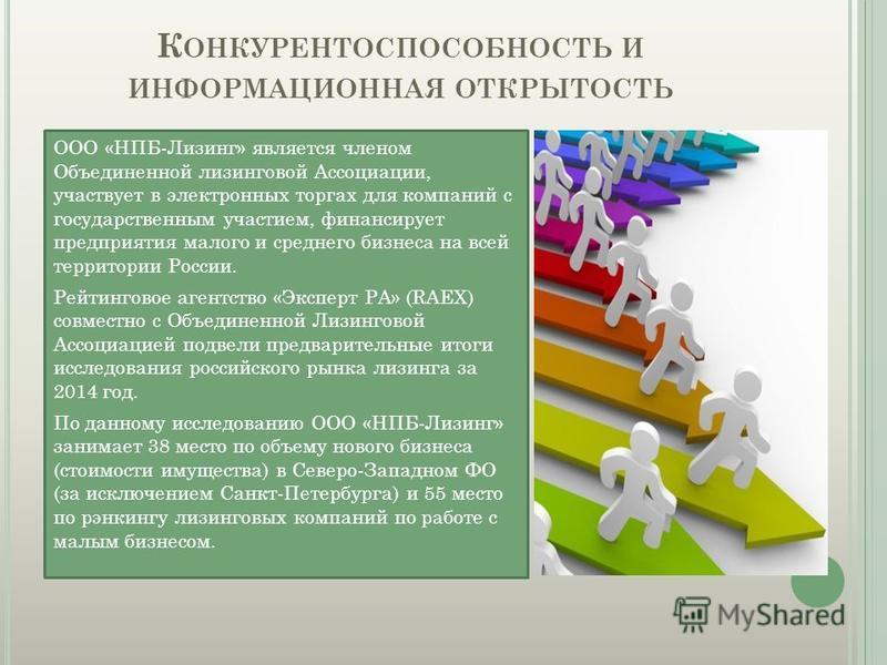 ООО «НПБ-Лизинг» является членом Объединенной лизинговой Ассоциации, участвует в электронных торгах для компаний с государственным участием, финансирует предприятия малого и среднего бизнеса на всей территории России. Рейтинговое агентство «Эксперт Р