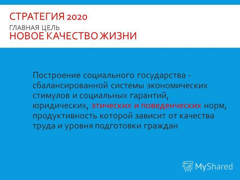 СТРАТЕГИЯ 2020 ГЛАВНАЯ ЦЕЛЬ НОВОЕ КАЧЕСТВО ЖИЗНИ Построение социального государства - сбалансированной системы экономических стимулов и социальных гарантий, юридических, этических и поведенческих норм, продуктивность которой зависит от качества труда