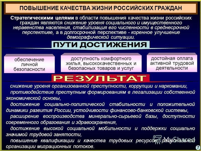 ПОВЫШЕНИЕ КАЧЕСТВА ЖИЗНИ РОССИЙСКИХ ГРАЖДАН Стратегическими целями в области повышения качества жизни российских граждан являются снижение уровня социального и имущественного неравенства населения, стабилизация его численности в среднесрочной перспек