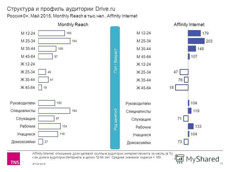 ©TNS 2015 Структура и профиль аудитории Drive.ru 13 Affinity Internet: отношение доли целевой группы в аудитории интернет-проекта за месяц (в %) к ее доле в аудитории Интернета в целом 12-64 лет. Среднее значение индекса = 100. Россия 0+, Май 2015, M