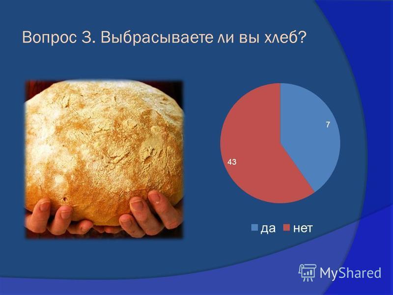 Вопрос 3. Выбрасываете ли вы хлеб?